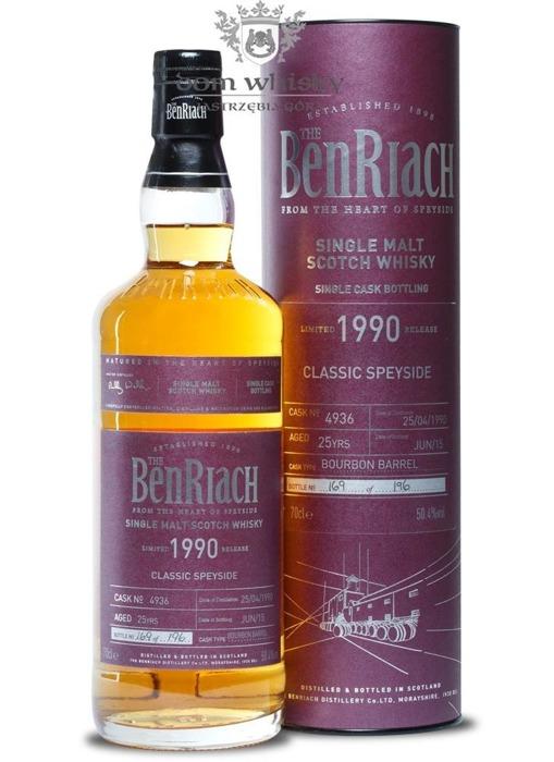BenRiach 1990, 25-letni (Bourbon Barrel # 4936) / 50,4% / 0,7l