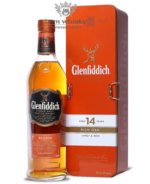 Glenfiddich 14-letni Rich Oak (Presented in Metal Case)/40%/0,7